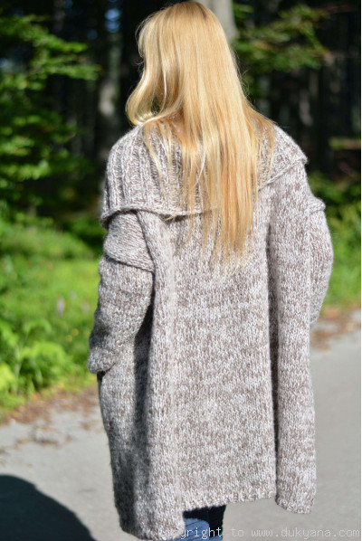 Lightweight collared slouchy cardigan in oatmeal