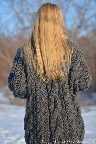 Huge wool cabled sweater in gray hand knitted