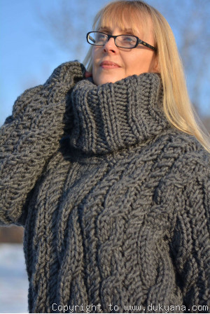 On request Huge wool cabled sweater in gray hand knitted